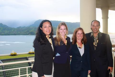 Of St. Regis: Stephanie Reid, director of public relations; Ashlee Libbrecht, senior catering and events manager; Jennifer Linder, director of the hotel's Halele'a Spa; Vincent Brunetti, director of food and beverage.