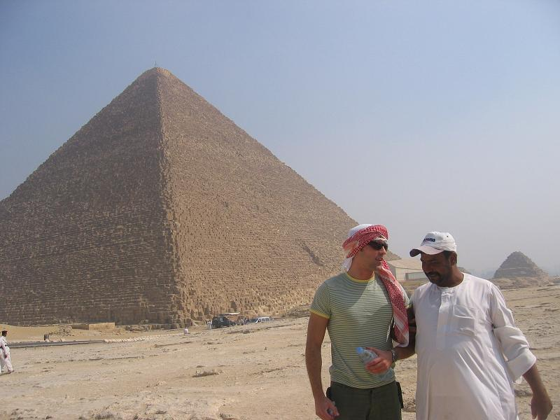 Exploring the pyramids of Giza (photo courtesy of Tom Steer)