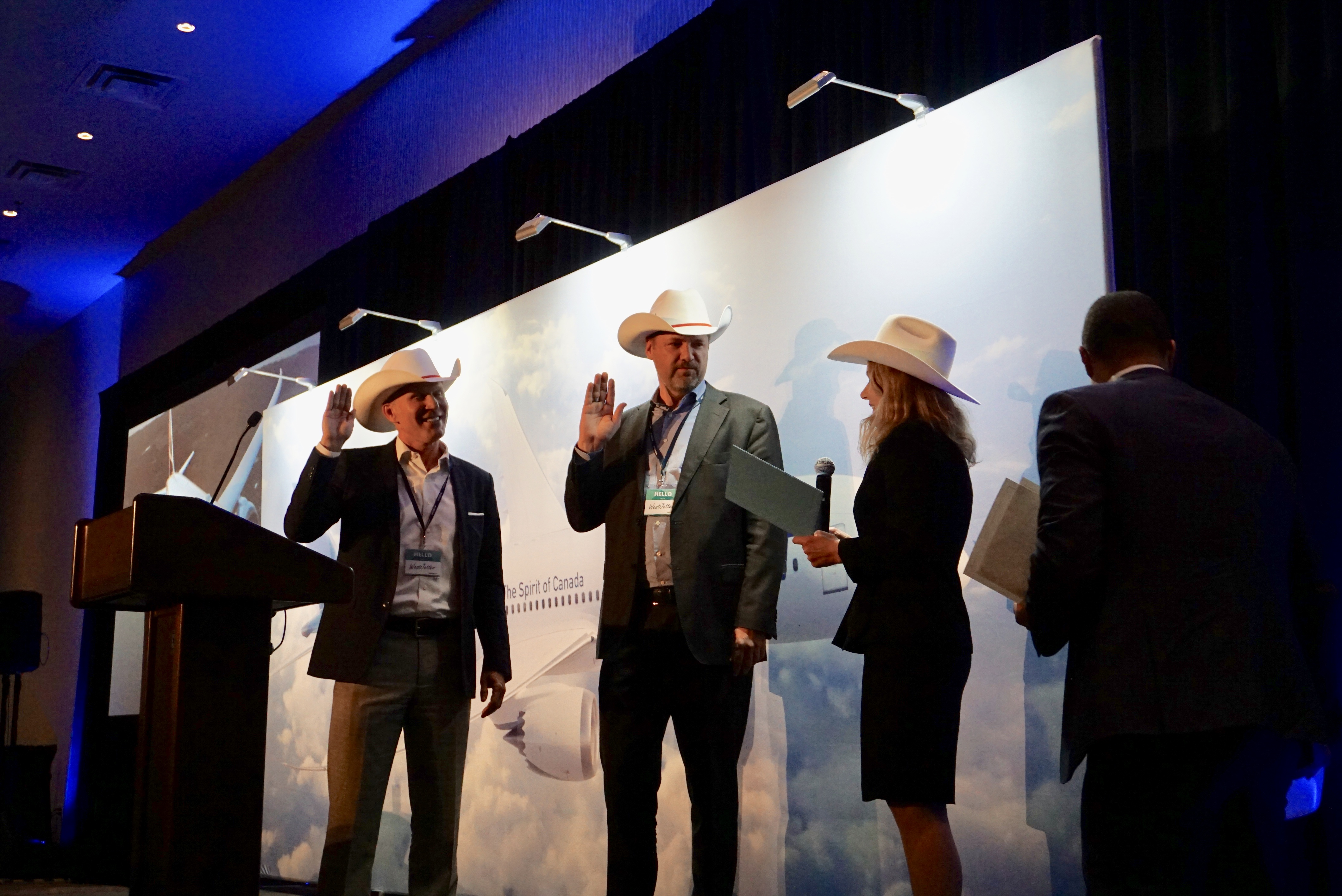Charles Crowder and Arved von zur Mühle officially white-hatted and welcomed to Calgary by Tourism Calgary.