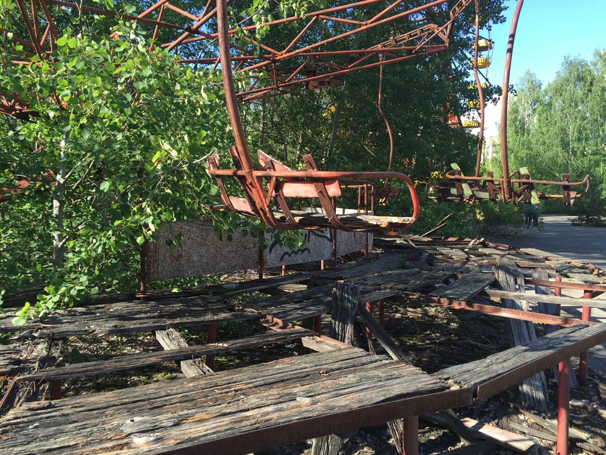 FROZEN IN TIME: The ruins of an amusement park in the nearby city of Pripyat remain as they were in 1986.