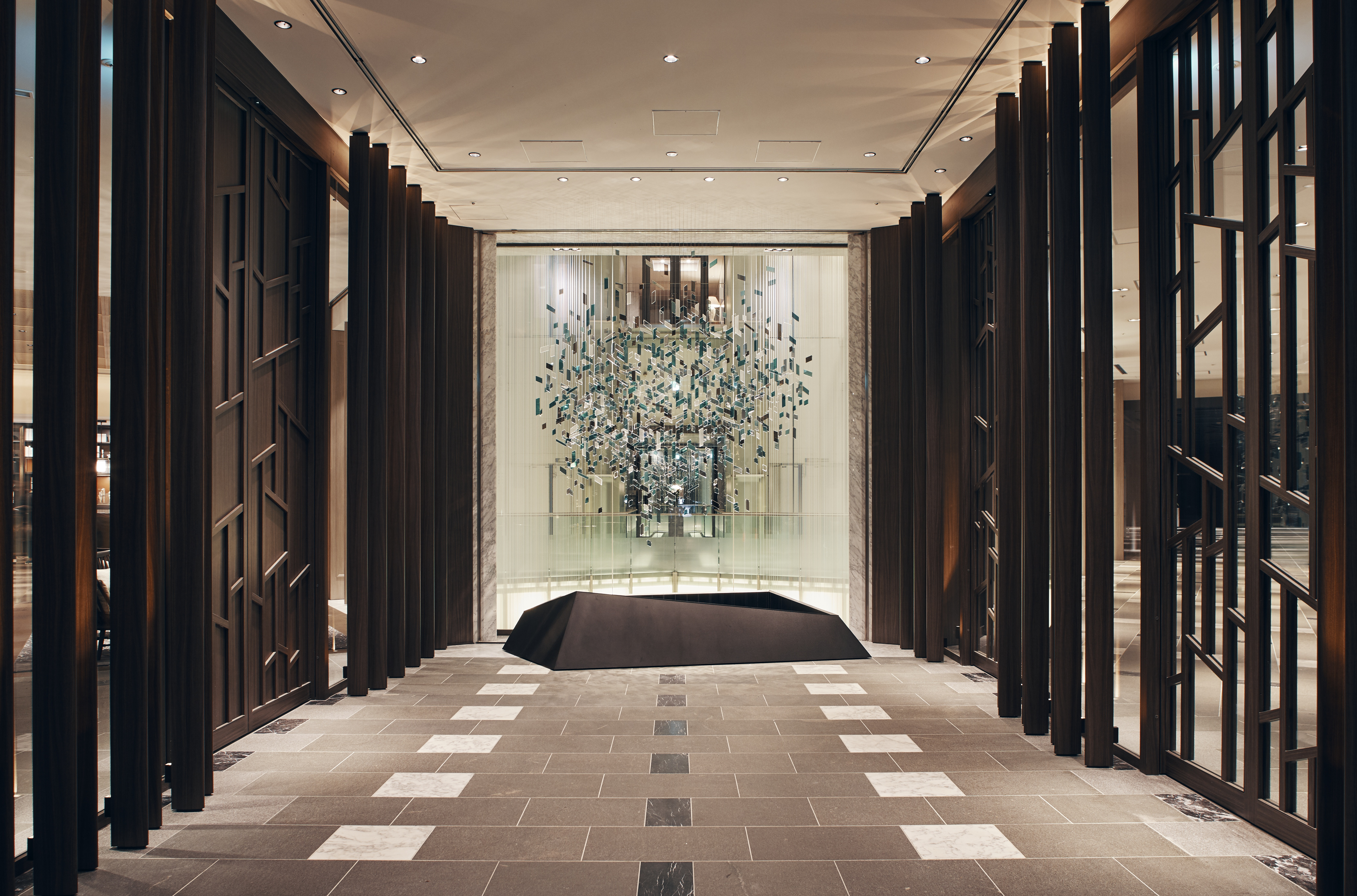 """Forest Greeting,"" a new piece of artwork by Hirotoshi Sawada, greets guests in the lobby"