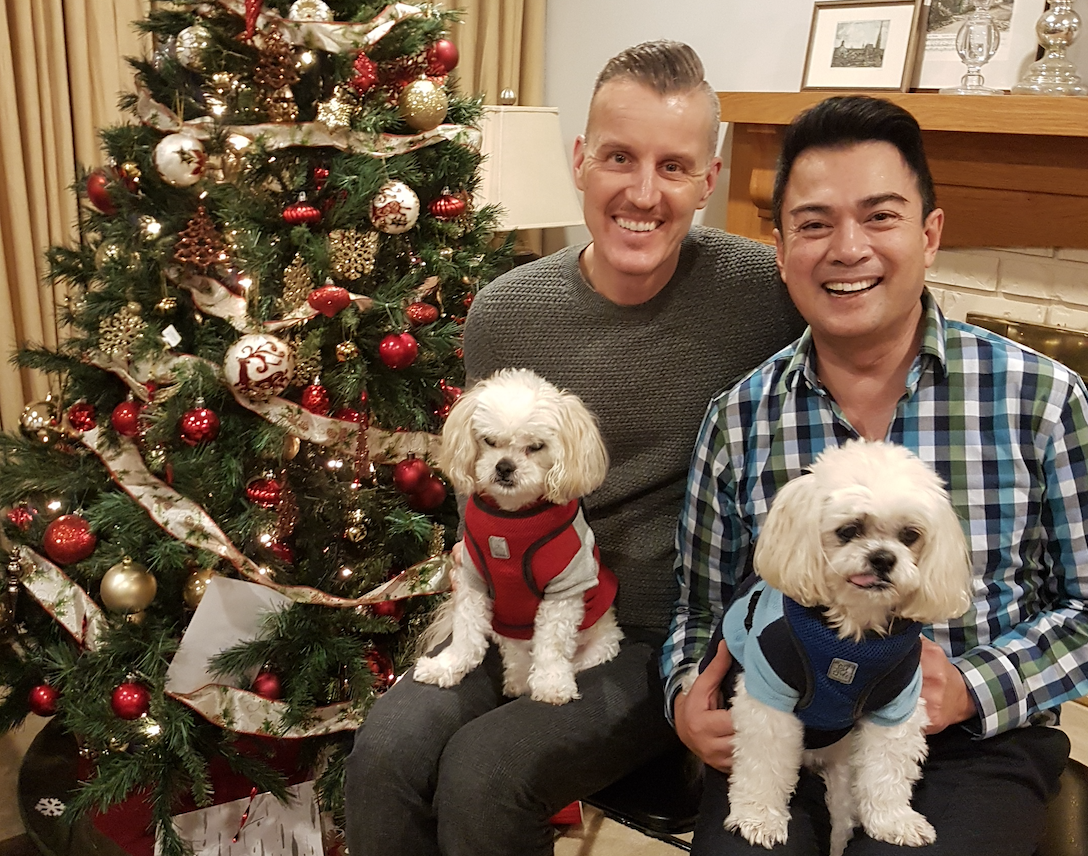Carlo Trinidad and partner Darren, along with fur babies Wilma and Rocco (photo courtesy of Carlo Trinidad)