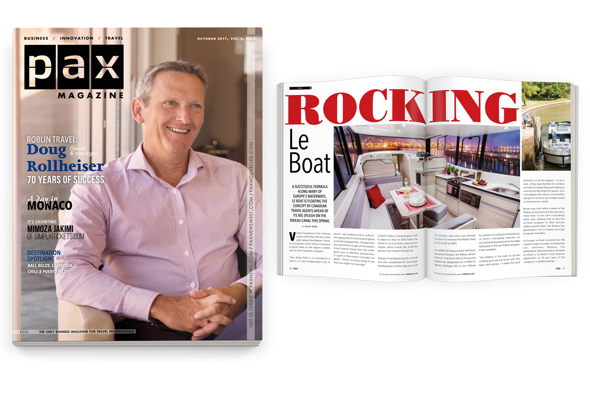 Roblin Travel featured in October's PAX