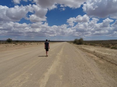 Walking a lonely road - Namibia