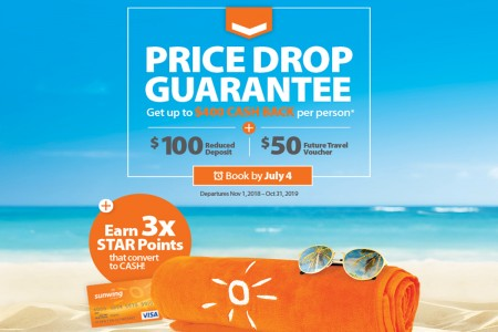 Sunwing's Price Drop Guarantee promises up to $400 back*