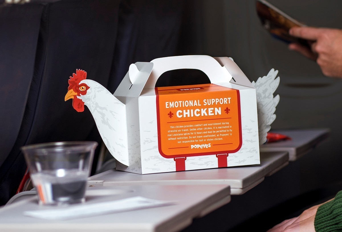 Seasoned greetings: Popeye's emotional support chicken now available