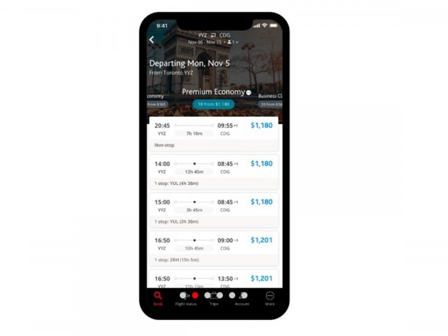 Air Canada's new mobile app is here